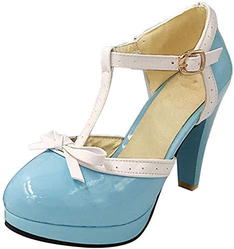 Damen T Spangen High Heels Plateau Pumps mit Blockabsatz Vintage Rockabilly Lolita Cosplay Geschlossen Schuhe(Himmelblau,38)