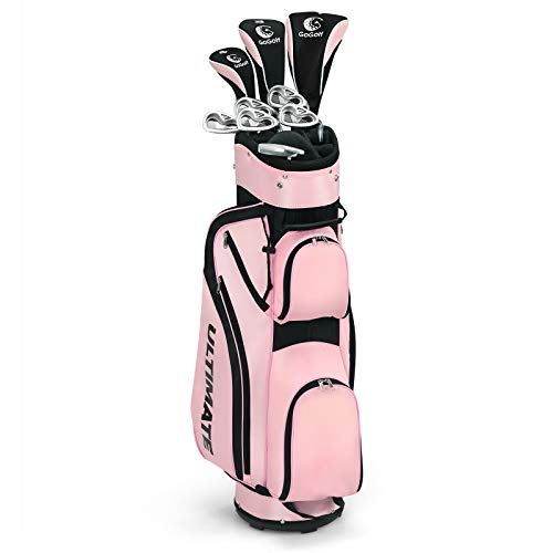 Tangkula Complete Golf Clubs Package Set 10 Pieces for Women Right Hand, Includes 460cc Alloy Driver, 3# Fairway Wood, 4# Hybrid, 6#, 7#, 8#, 9# & P# Irons, Free Putter, Stand Bag (Pink)
