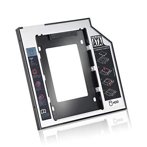 QiKun-Home Caddy de Disco Duro SATA Segundo HDD SSD de Aluminio Universal de 9,5 mm con 4 Tornillos para Adaptador de bahía óptica de CD/DVD-ROM Negro