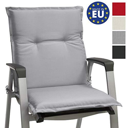 Beautissu Stuhlauflage Niedriglehner Gartenstuhl Base NL Sitzkissen 100x50x6cm Rückenkissen Stuhlkissen für Gartenstühle Sitzpolster Hellgrau