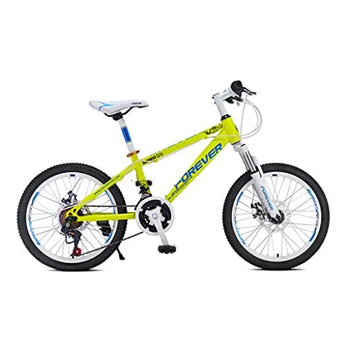 ZXQZ Bicicleta de Montaña, Bicicleta de Campo Traviesa de Velocidad Variable de 20 Pulgadas con 24 Velocidades Variables Y Cuadro de Poca Envergadura, para Niños Y Niñas (Color : Yellow)