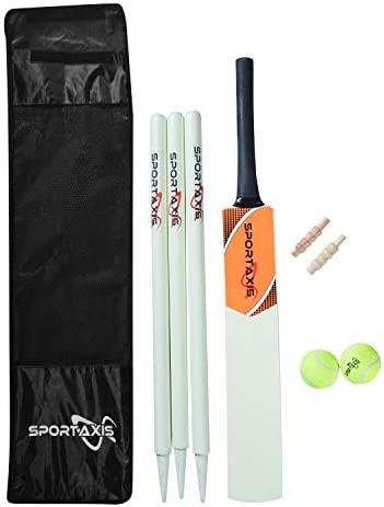 SPORTAXIS Wooden Cricket Set Contains Bat 2 Light Tennis Balls 3 Stumps 2 Bails and Stylish product image