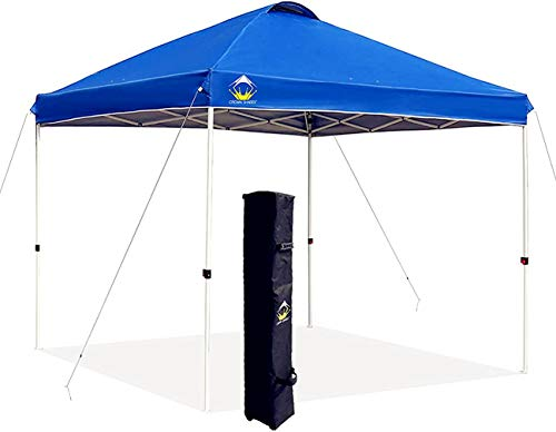 Crowns Shades 10x10 Pop up Canopy Outside Canopy, Patented One Push Tent Canopy with Wheeled Carry Bag, Bonus 8 Stakes and 4 Ropes, Blue