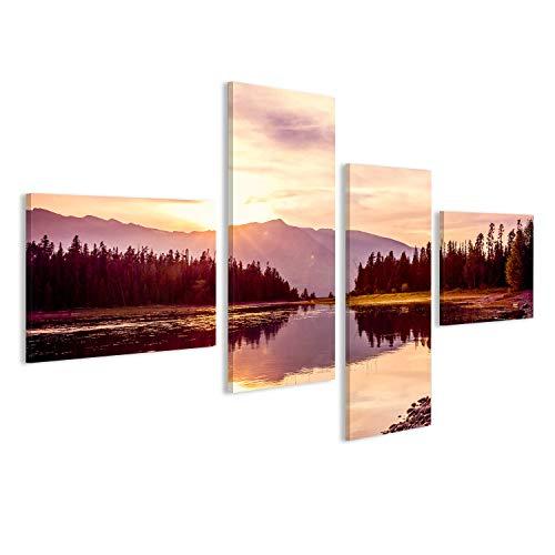 bilderfelix® Bild auf Leinwand Grand Teton Gebirgszug bei Sonnenuntergang, Jackson Lake, Grand Teton Nationalpark, Wyoming, USA Wandbild, Poster, Leinwandbild GCV