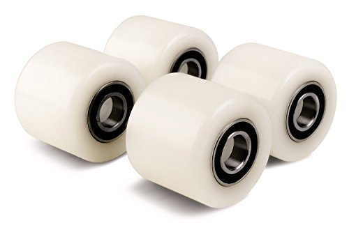 Set mit 4 x Palettenrollen, 4 Stück, Durchmesser 82 mm, Breite 70 mm, Nylon-Lastungsrolle/Rad mit Kugellagern, 20 mm Bohrung, Größe 82 x 70 x 20 mm, 700 kg