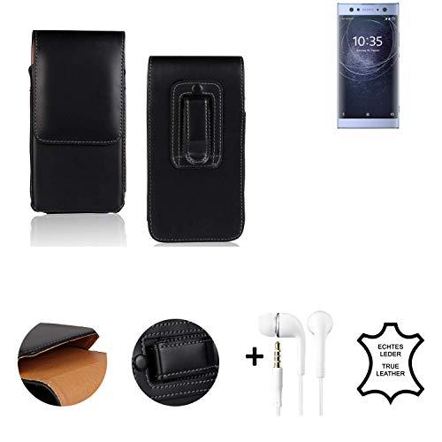 K-S-Trade Leder Gürtel Tasche + Kopfhörer Kompatibel Mit Sony Xperia XA2 Ultra Dual-SIM Seitentasche Belt Pouch Holster Handy-Hülle Gürteltasche Schutz-Hülle Etui Schwarz 1x