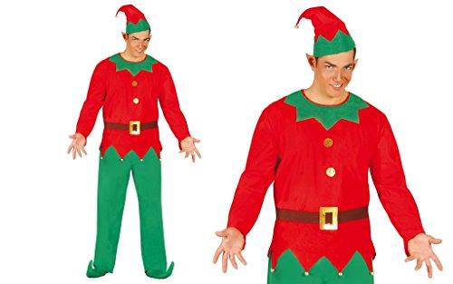 Costume elfo uomo misura unica L aiutante babbo natale