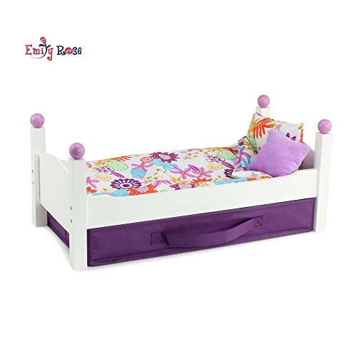 Emily Rose 18 Inch Doll Furniture for American Girl Dolls   Single Stackable 18 Inch Doll Bed   Doll Stackable Bed Includes Fabric Doll Clothes Storage Bin   Fits 18