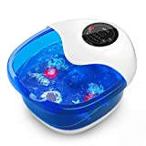 Foot Spa Massager Misiki Foot Bath with Bubbles Heat Vibration and Auto Shut-Off, 4 Massage Rollers and Foot Stone for Acupressure Shiatsu Massage and Pedicure to Relieve Feet Muscle Pain