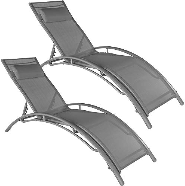 TecTake 800675 2er Set Aluminium Sonnenliege, witterungsBestendig, inkl. Kopfpolster, 5-Fach verstellbare Rückenlehne – Diverse Farben – (Grau  Nr. 403063)