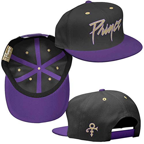 Rocks-off Prince Baseball Cap Gold Logo & Symbol Nue offiziell Schwarz & Purple Unisex