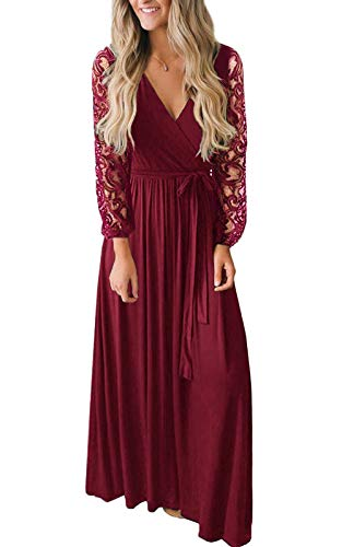 Women's Vintage Lace Long Sleeve Wrap V Neck Evening Party Maxi Dress Wine Red XL