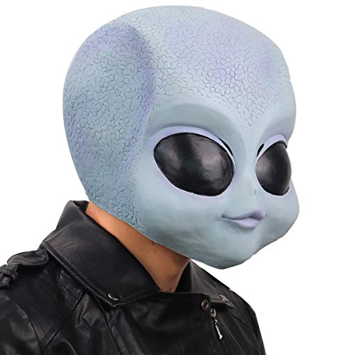 ifkoo Cute Realistic Alien Baby Latex Head Mask Alien Halloween Costume Party Prop for Adults (Alien) Blue