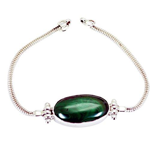 GemsOnClick Pulsera de plata de ley 925 con piedras preciosas de Malaquita GCB207