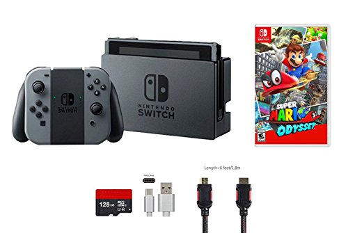 Nintendo Switch Bundle (5 items): 32GB Console Gray Joy-con, 128GB Micro SD Card, Game Disc Super Mario Odyssey, Type C Cable, and HDMI Cable