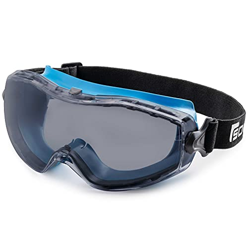 SolidWork Safety Goggles with Universal Fit | Eye Protective Safety Glasses for Construction Work | Scratch Resistant Goggle with UV-Protection and Anti-Fog | For Men & Women | Grey Lens | Blue