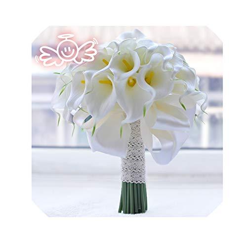 LiGHT-S Weinlese-rote Rosen mit Kristall Wasserfall Braut Pearl White Wedding Bouquet Künstliche Blumen Braut Brosche, weiße Calla-Lilie