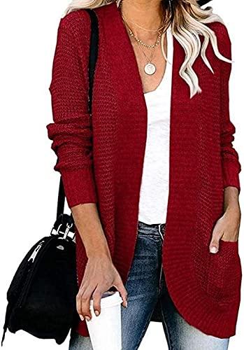 XINYUDAGE Damas Puente Casual para Mujer Puimentiua Flojo Frente Abierto Cardigan Manga Larga con Bolsillos Escudo suéter Tienda Qf Ligero Suave de Punto Jerseys-SG_Rojo Iteration