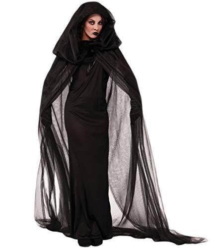 Fortuning's JDS Mujeres Bruja de Halloween Vestido de Vampiro Tulle Esclavina Guantes...