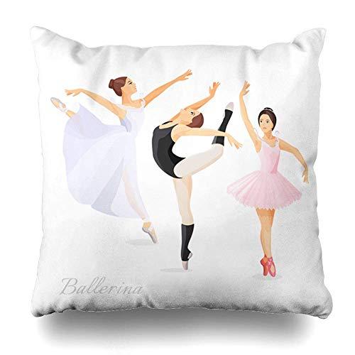 Throw Pillow Cover Dancer Ballerina Tres jóvenes Bailarines de Ballet Vestido de pie Pose Dance Balet Class Diseño Moderno Funda de Almohada Decorativa 18x18 Pulgadas