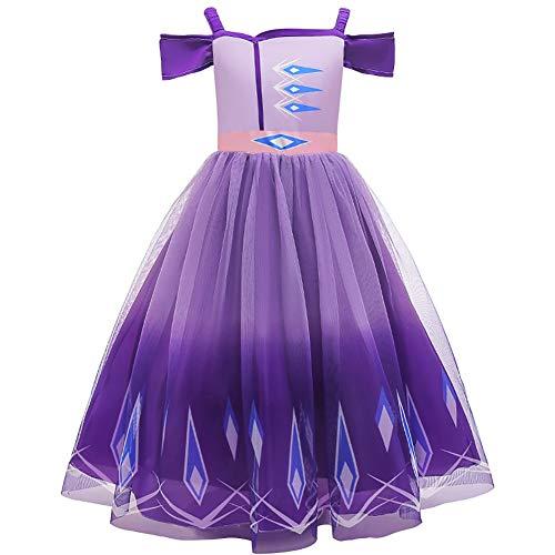 Disfraz de princesa de Frozen 2 Elsa para nias con diseo de reina de nieve con accesorios de cuentos de hadas, disfraz de fiesta de Halloween, Navidad y carnaval