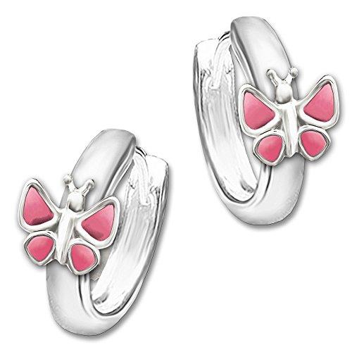 Clever Schmuck Silberne Kinder Creole Schmetterling rosa - pink 12 x 2,5 mm STERLING SILBER 925