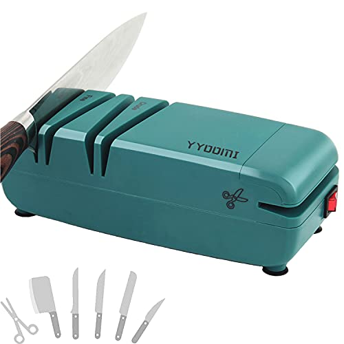 YYOOMI Professional Electric Knife Sharpener with Diamond Abrasives& 15- Degree Angle Control, 2-Stage, Multifunction for Sharpening Scissors