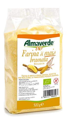 Almaverde Bio Farina di Mais Bramata Biologica a grana grossa per polenta. 3 Confezioni da 500 gr.