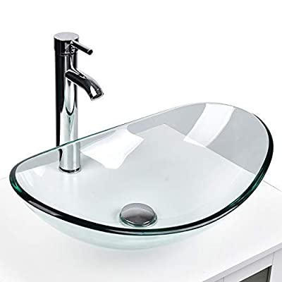 Buy Yourlite Modern Tempered Glass Sink Bathroom Vanity Vessel Sink And Faucet Combo Boat Style Utility Sink Above Counter Online In Turkey B07mtwg1bp
