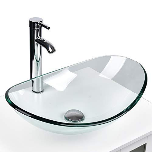 YOURLITE Modern Tempered Glass Bathroom Vanity Vessel Sink and Faucet Combo Boat Style Utility Sink Above Counter