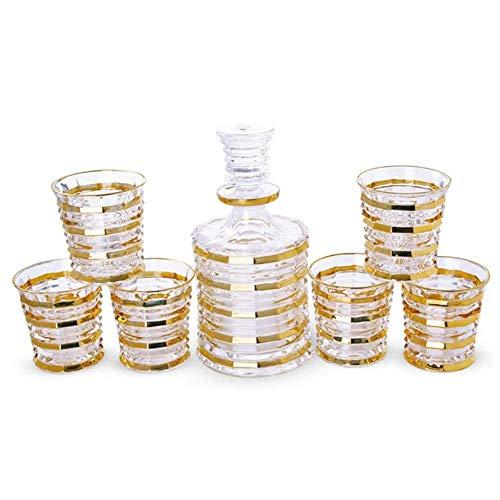 SOAR Botellero 7 Piezas Set Crystal Whisky Decanter Gold Crystal Glass Retro Extranjero Botella de Vino Red Wine Cup Set de Vino Adecuado para el Regalo de casa (Color : A)
