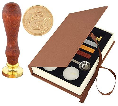 Hexint Initials - Set di timbri per cera e ceralacca con 3 bastoncini di ceralacca e 1 cucchiaio per sciogliere e 2 candele bianche (Lettera S)