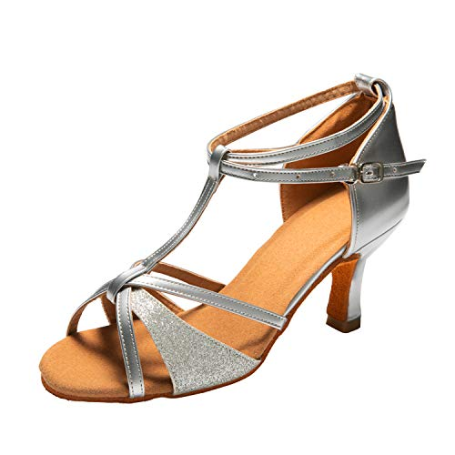 Dance Shoes Women Latin Salsa Bachata Shoes Suede Sole Wedding Performance Dance Shoes 2.76'' Heel Silver