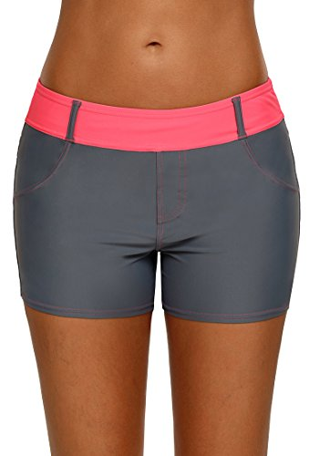 Aleumdr Womens Color Block Wide Waistband Swim Shorts Trunks Tankini Bottoms Boyshort Swimsuit Panty Pockets ,Red,(US12-14)Large