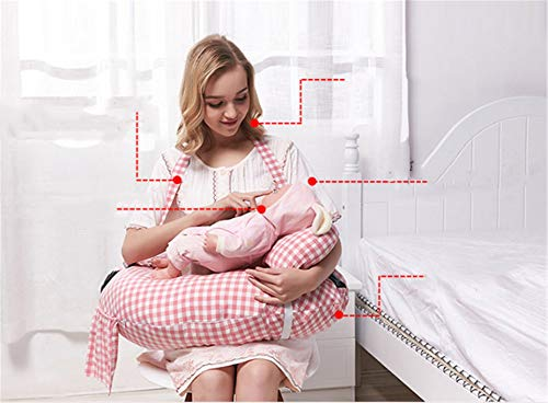BABIFIS Almohada de Lactancia Multifuncional, Maternidad y cojín para bebé con Mini Almohada y arnés para bebé Gratis (Azul, Rosa)