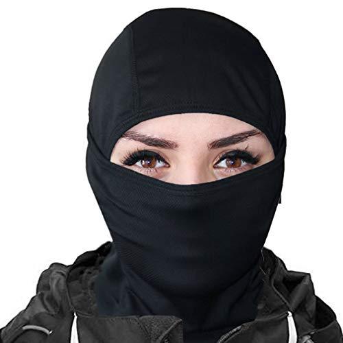 KOOYU Balaclava Ski Mask Motorcycle Full Face Mask Neck Gaiter Hood Mask (Black)