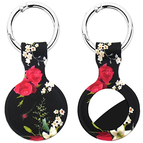Ekezon Cases Compatible with Apple AirTags Case Keychain Airtag Holder Air Tag Key Ring Cases Air Tag Protective Cover Airtag Key Chain Loop Holder Silicone for Luggage Dog Cat Pet Collar (BlackRose)
