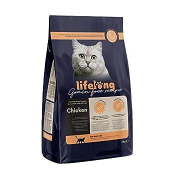Marque Amazon Lifelong Aliment pour chat adultes sans céréale, élaboré avec de la viande fraîche de poulet - 3kg