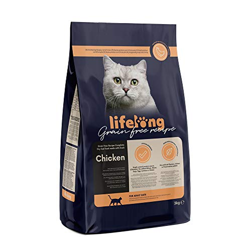 Marca Amazon Lifelong Alimento seco para gatos adultos con pllo fresco, receta sin cereales - 3kg