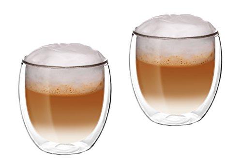Glassquisite - doppelwandige Gläser – Thermogläser – 2er Set mit Schwebe-Effekt - je 300 ml – ideal geeignet für Heiß- oder Kaltgetränke wie Tee, Cappuccino, Kaffee, Wasser, Cocktails (1)