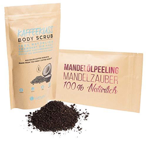 Deluxe Wellness Peeling Set bestehend aus Mandelölpeeling Mandelzauber (250g) & Kaffeepeeling Kaffeekuss (250g), Scrub für Körper und Gesicht 100{2779ef3de00aba260c1b480b11b5fcca87a5180fec83fb9564214d0114327037} Natürlich, Pflege Geschenkset, von Venize