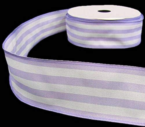 Ribbons Perfect Supplies for 5 Yds Pastel Purple Lavender White Spring Stripe Striped Wired Ribbon 2' W for Crafts, Hair Bows, Gift Wrapping, Wedding Party Decoration and More