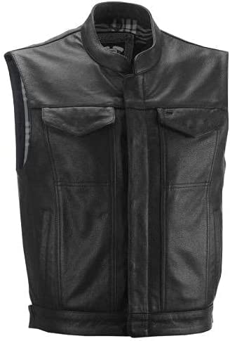 New Men's overseas Casual Classic Formal Genuine Black Leather Vest Brand new Style
