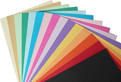 75 Blatt Buntpapier 120g/m² DIN A4 Bastelpapier 15 Farben bedruckbar - farbiges stabiles Kreativ-Ton-Papier - komplett durchgefärbt - Kinder basteln - DIY Bastelideen