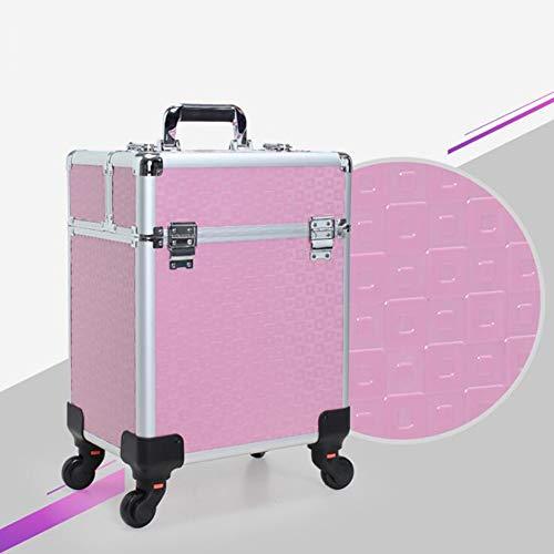 3 En 1 Trolley à Maquillage Mallette Valise Beauty Case Multifonctionnel Stockage CosméTiques Cas Chariot Malette Aluminium Vide Sac De Maquillage Professionnel,Rose,B