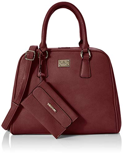 Bessie London Gold Metal Clasps Tote - Borse Donna, Rosso (Red), 15x26x33 cm (W x H L)