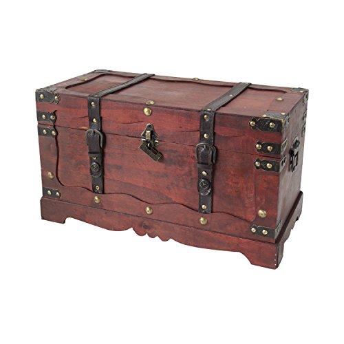 HMF 6400-150 Schatztruhe aus Holz mit Schloss | 50 x 25 x 28 cm | Groß | Frankreich