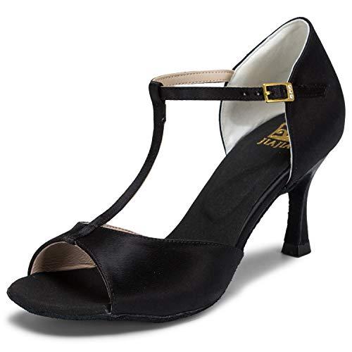 JIAJIA JIAJIA 20511 Damen Sandalen Ausgestelltes Heel Super-Satin Latein Tanzschuhe Schwarz, 41 EU