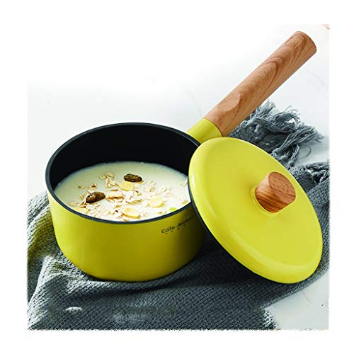 Maifan Stone Non-stick Pan/6.7in/multifunctional Milk Pan, without Rivets, Transparent Glass Lid, Handle (Color : Yellow)