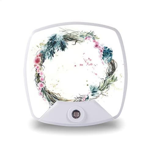 Luz de noche LED enchufable con sensor automático de anochecer a amanecer,frame from flowers roses wreath watercolor hand drawn illustration,para pasillo, dormitorio, escalera, etc.